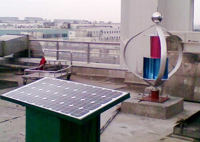 Factory Building Rooftop Wind Turbine And Solar Panel Hybrid System Continuous Power Supply